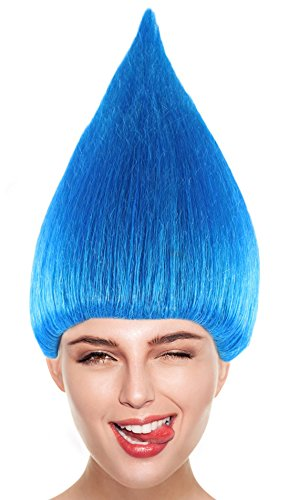 Blue Chestnut Cone Wig Synthetic Hair w/Wig Cap Cosplay Costume Party Halloween Colorful Wig Men, Women