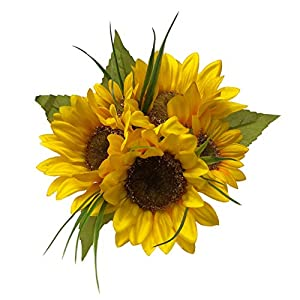 Personalize - Customize Sunflower Artificial Flower Bridal Bouquets for Wedding - Choose from 10 Satin Ribbon Colors -Rustic Wedding Decorations (Small 8 inch) 85
