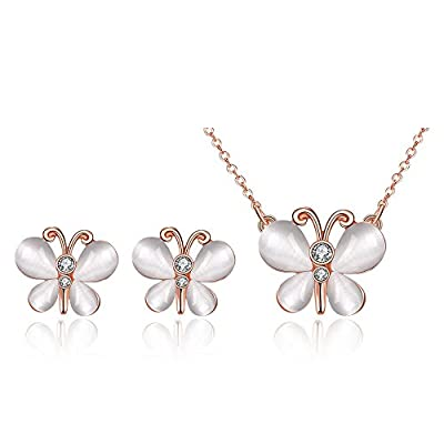 New Women Fashion Jewelry Set Rose Gold Plated Butterfly Necklace Earrings Set hot sale