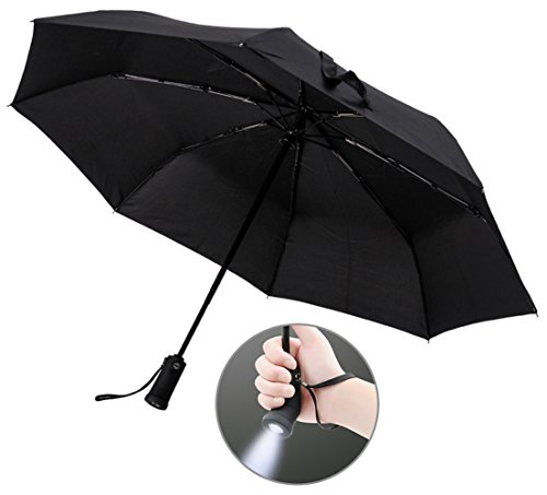 Price comparison product image YIER LED Flashlight Umbrella, Compact Travel Umbrella, Auto Open and Close, 180 Degree Rotate Handle