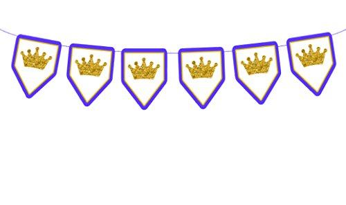 Blue Frame Prince (Crowns on Royal Blue Frame, Prince Banner, Prince Garland, Prince Baby Shower Decorations, Prince Decorations, Royal Blue and Gold)