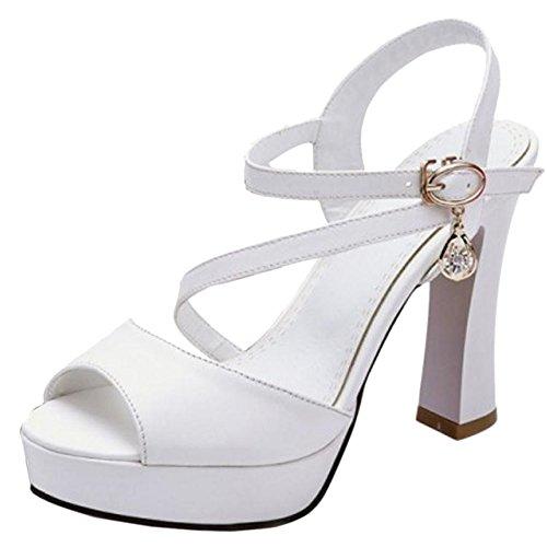 TAOFFEN Hauts Sandales Cheville White Bride Talons Femmes r8xXzr