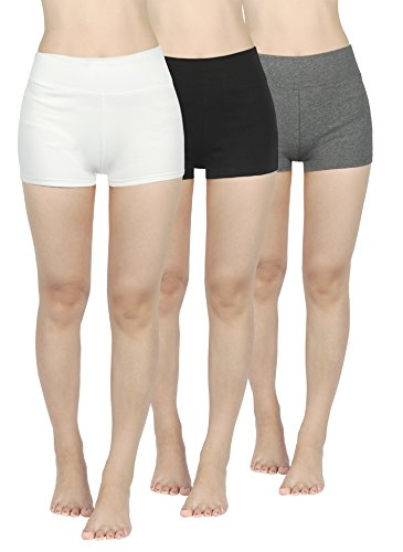3pack Shorty gris negro 4how blanco para mujer 0fdpqC