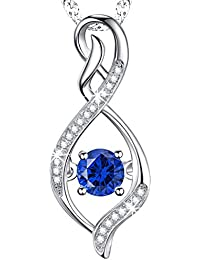 Gifts for Women Blue Sapphire Infinity Love Pendant Necklace Fine Jewelry Sterling Silver Swarovski