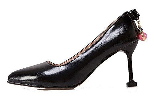 Amoonyfashion Kvinna Pådrag Pu Sluten Tå Kick-häl Fasta Pumpar-shoes Svarta