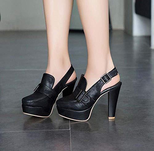 Verano Super Tamaño De Hebilla Sandalias Mujeres Plataforma Glter Tacón Black 50 Zapatos 40 Primavera Grande Slingback 2019 gWSXg8wcq