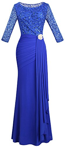 Angel-fashions Women's Boat Neck Sequin 3/4 Sleeves Pleated Draping Bridesmaid Dress (S, ()