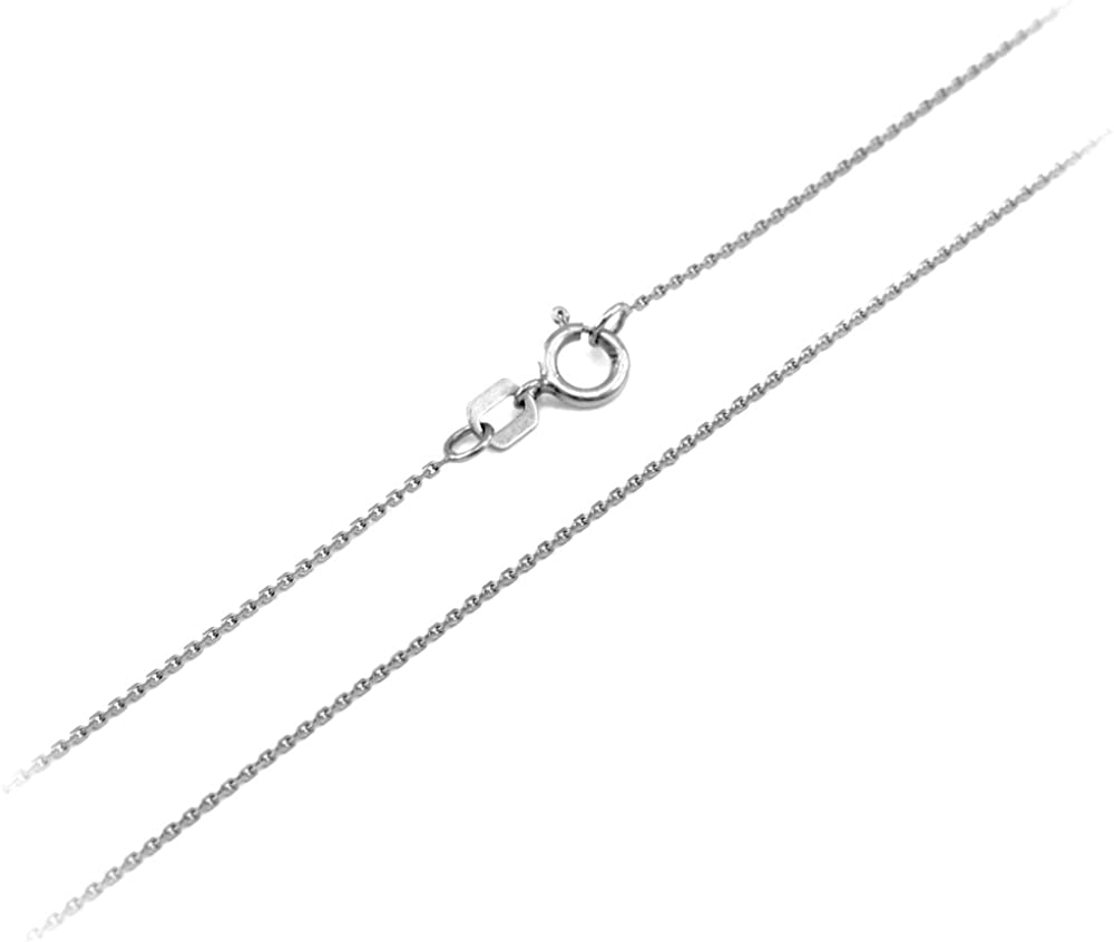 LA BLINGZ 14K White Gold Islamic Crescent Moon Pendant Necklace