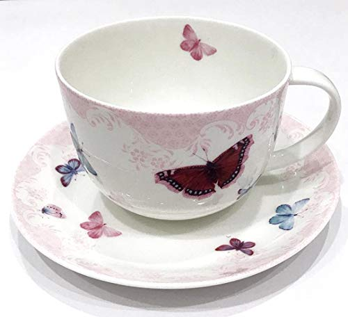 Roy Kirkham BUTTERFLY Breakfast Tea Cup and Saucer Set Fine Bone China   Collectible Dated ()