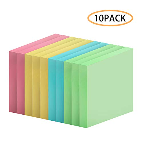 Sticky Notes, 3 x 3 Inch Sticky Self-Stick Notes, Easy to Post for Home, Office, Notebook, Set of 10 Pack