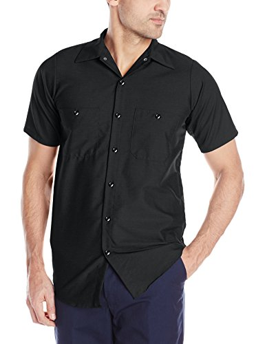 Black White Pencil Pinstripe - Red Kap Men's Industrial Work Shirt, Regular Fit, Short Sleeve, Black, Medium