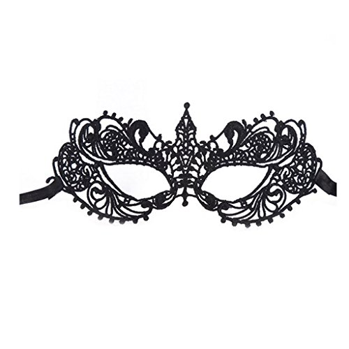 Colorful House Womens Masquerade Halloween Party Lace Eye Mask(Classic, Black)