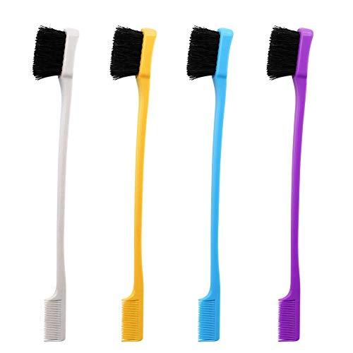 (Nexxxi 4 Packs Double Sided Hair Brush Comb Eyebrow Brush for Natural Hair)
