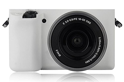 Silicone White Case Lcd (Turpro Flexible Silicone Camera Case,Soft Protective Camera Cover Skin for Sony Alpha A6000 A6300 with 16-50mm Lens (White))