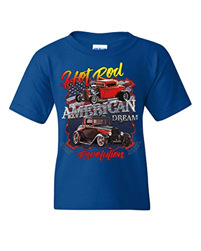 (Hot Rod Revolution Youth T-Shirt American Dream Stars & Stripes RTE 66 Kids Tee Royal Blue M)