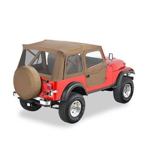 Bestop 51595-04 Tan Supertop Classic Replacement Soft Top with Clear Windows; 2-pc. Full Doors for 1955-1975 Jeep CJ5 & 1951-1962 M38A1