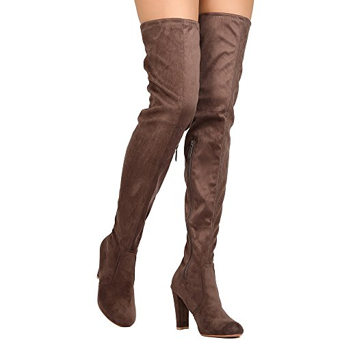 ShoBeautiful Womens Thigh High Boots Over The Knee Party Stretch Block Mid Cupped Heel Dress Boots Taupe
