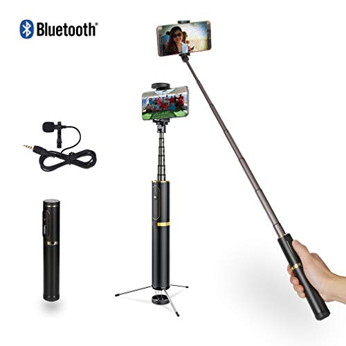 YOEMELY Bluetooth Selfie Stick Tripod Extendable with Wireless Remote Tripod Stand and Microphone for iPhone X / 8/8 Plus / 7/7 Plus Galaxy S9 S9 Plus Note 8/S8/S8 Plus