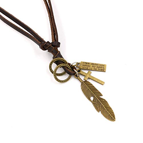 URUHR Feather Leaf Pendant Necklace Leather Necklace Gift for Women Girls Men Boys-46(Gold) 5/8' No Leaf Pendant
