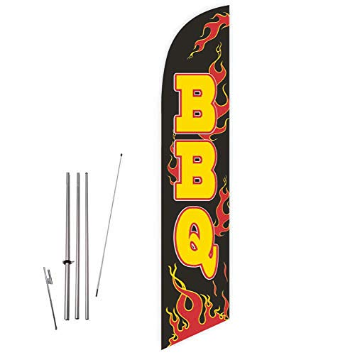 - Cobb Promo BBQ with Flames (Black) Feather Flag with Complete 15ft Pole kit and Ground Spike
