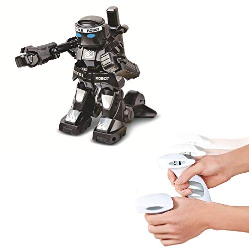 Remote Sensing Battle Robot 2.4G RC Competitive Model Toy With LED Light and Sounds for Kids (Black)