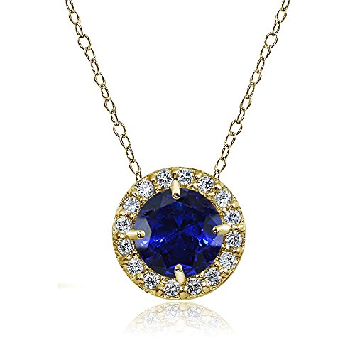 Yellow Gold Flashed Sterling Silver Created Blue Sapphire and Cubic Zirconia Accents Round Halo Necklace