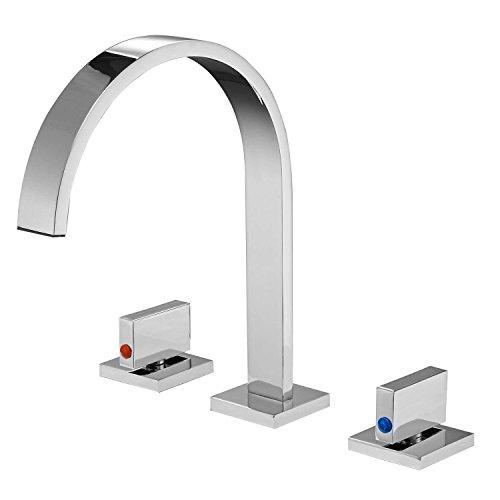(Bathlavish Bathroom Sink Faucet Waterfall Goose neck 8-16 Inch 2 Handles 3 Holes Widespread Commercial Chrome Lavatory)