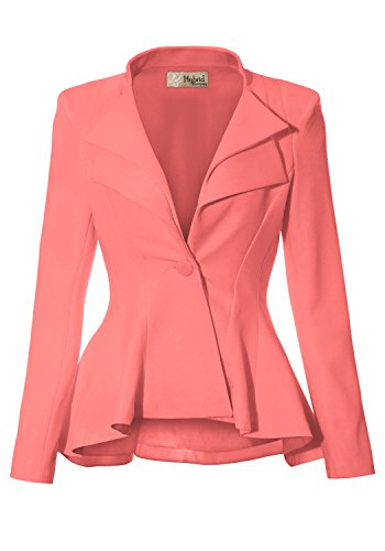 Women Double Notch Lapel Office Blazer JK43864 1073T Light CORA 2X
