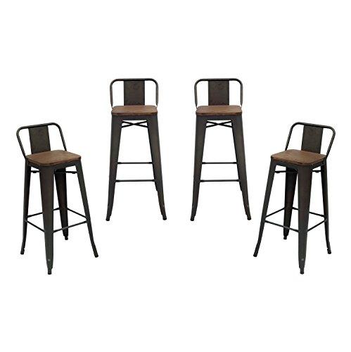 Low Back Bar Stool (Purenity Matte Industrial Wood Top Bar Height Stool with Back, Vintage Metal Design Indoor/Outdoor, Set of 4)