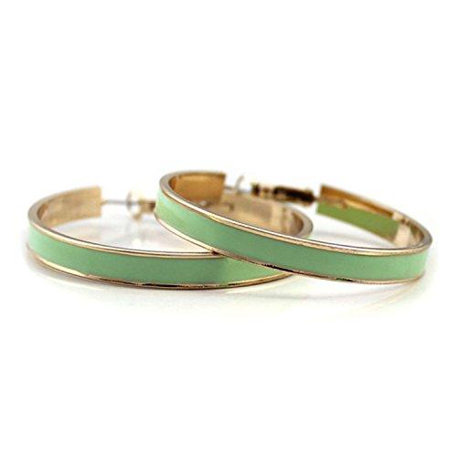 Gold Textured Rim - [Little B House] Textured Green Gold Rim Earrings - ER88