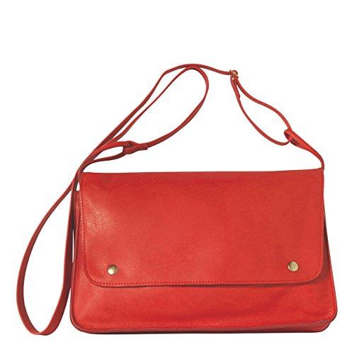 Mamix Borsa Vintage Donna 100% pelle Borsa Tracolla Rosso