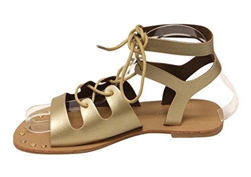 Per Sempre Abbellimento-96 Scarpe Da Donna In Metallo Stringate Sandali Gladiatori Piatti Dorati