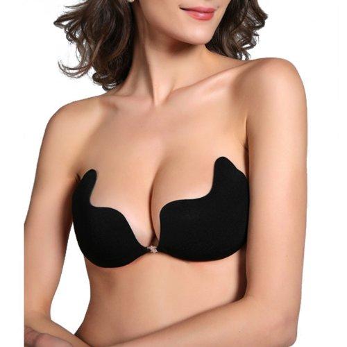 5fa741f48b HDE Womens Strapless Adhesive Adhesive Body Bra Black D - Buy Online in  Oman.