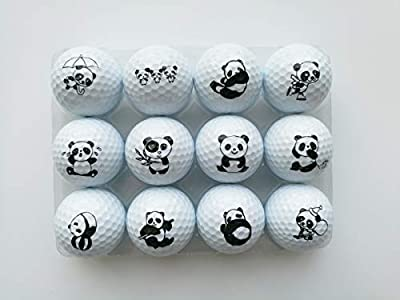 yamato Golf Balls, 12 Cute Panda Pattern Double Layer Practice Golf Balls, Fun Golf Gift for All Golfers.