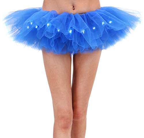 Women's Classic 5 Layered LED Light Up Tutu Skirt Party Costume, Royal -