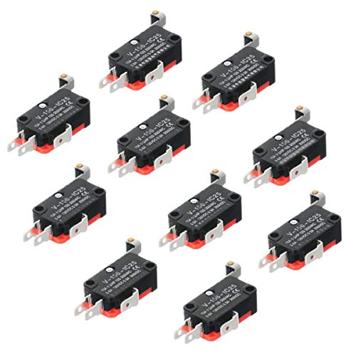 HiLetgo 10pcs V-156-1C25 Lead Limit Switch SPDT Switch Silver Base Contact Roller Swing