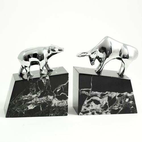 Brass Bull & Bear Marble Bookends, Chrome Plated by Bey-Berk