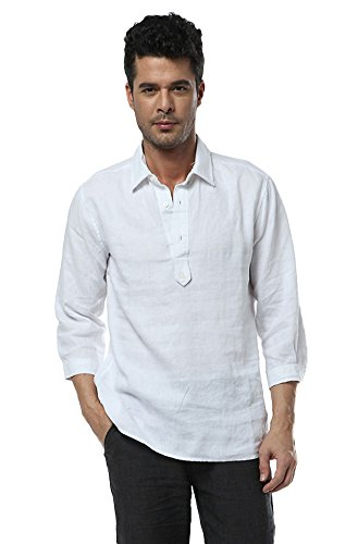 Chickle Men's Solid Western Down Collar Long Sleeve Linen Shirt L White