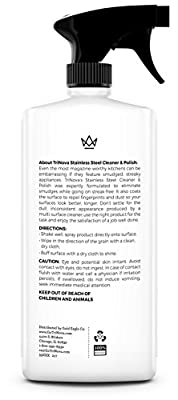 Stainless Steel Cleaner and Polish with Microfiber Cleaning Cloth. Cleaning Spray for Appliances, Fridge, Microwave Oven, Kitchen. Eliminate Grime, Grease, Smudges and Dust. 16oz TriNova