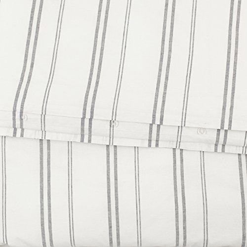 Rivet Classic Maxwell Garment-Washed Stripe Duvet Cover Set, King, White with Gray Stripe by Rivet (Image #6)