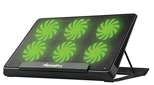 XtremPro Portable Metal Mesh Laptop Cooler Cooling Pad, 6 Quiet Fans w/Green LED Light, 5 Adjustable Heights, Up to 17