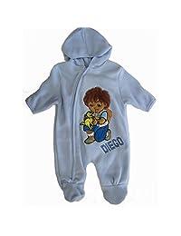 Nickelodeon Baby Boys Sky Blue Diego Applique Zipper Footed Onesie 12-24M