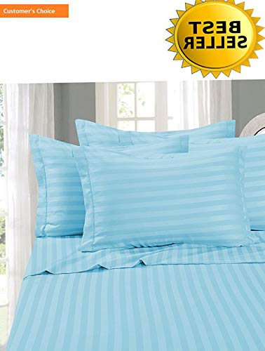 Mikash #1 Bed Sheet Set on Amazon - Super Silky Soft - 1500 Thread Count Egyptian Quality Luxurious Wrinkle, Fade, Stain Resistant 6-Piece Stripe Bed Sheet Set, California King Aqua   Style 84600188
