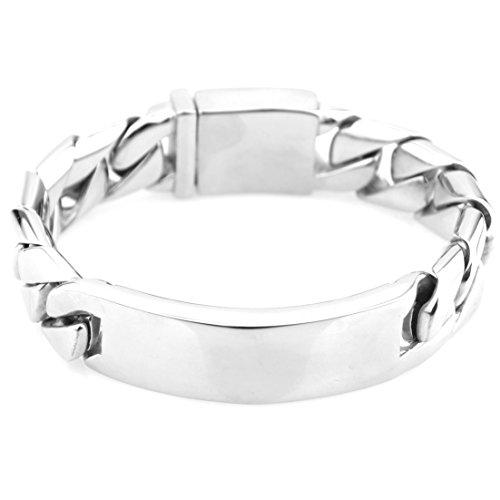 (Jewelry Kingdom 1 Heavy Stainless Steel Cuban Chain with ID Men Bracelet Silver Tone)