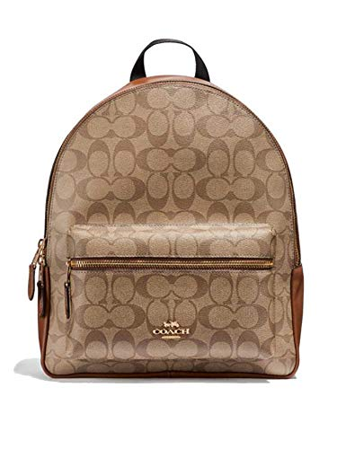 Coach Womens F35425 Medium Charlie Backpack BookBag Khaki Saddle (Signature Saddle)