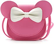 QiMing Little Mouse Ear Bow Crossbody Purse,PU Shoulder Handbag for Kids Girls Toddlers
