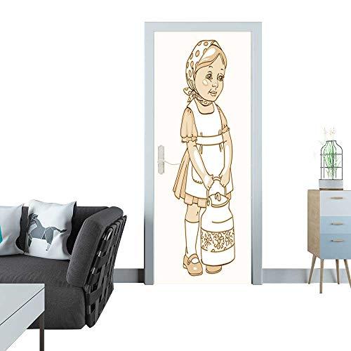 (Anmaseven Glass Door Sticker Decals Girl with a can of Milk Sticker for Door 30x79(77x200 cm))