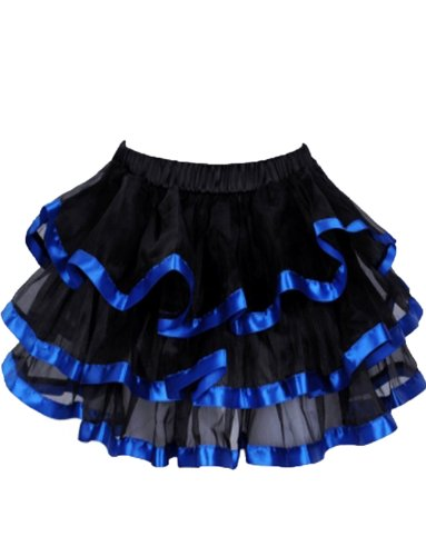 Yummy Bee Womens Frilly Tulle Tutu Skirt Burlesque Costume Plus Size 2 - 4, (Blue Burlesque Costumes)