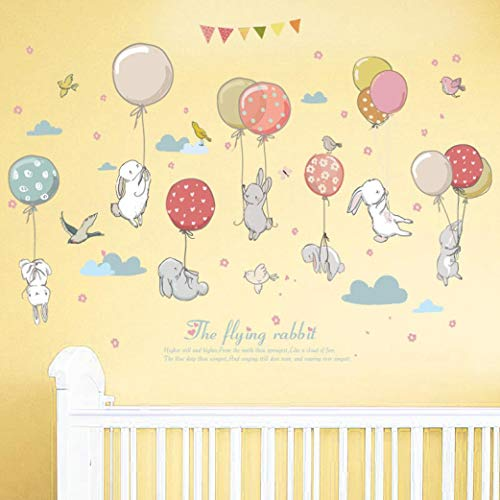 (Shybuy Kids Cartoon Animal Theme Wall Decal Colorful Ballon Rabbit Decorative Sticker for Children Bedroom, Nursery, Playroom Mural (Multicolor, 50cm x 70 cm))