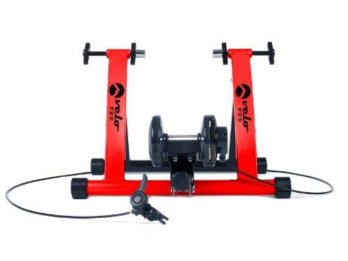 Velo Pro - entrenador de bicicleta de interior. Entrenador plegable con resistencia magnética para bicicleta de carretera, bicicleta de montaña, bicicleta de touring. Resistencia ajustable - Velocidad Variable. (rojo)